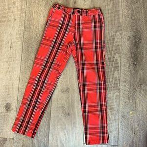 Jaywalker Red Tartan Plaid  Pants Size 8 Kids